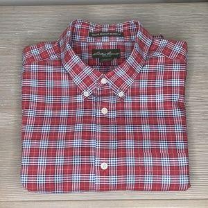 Eddie Bauer Red Plaid Cotton Button Down Shirt XL